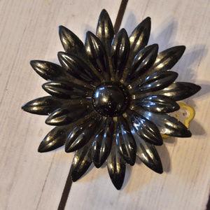 vintage large black enamel flower brooch pin leafy